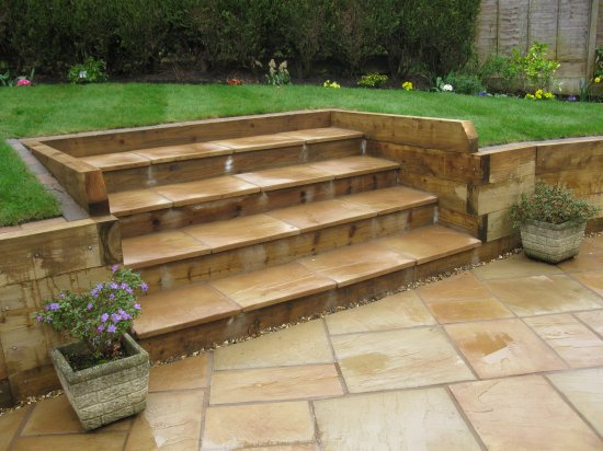 Sleeper retaining walls and raised beds Shropshire